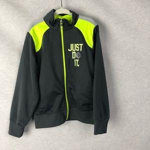 Boys Nike Grey and Neon Yellow Zip Up Sweatshirt
